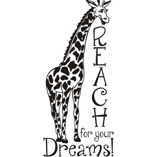 Design on Style 'Giraffe reach for your dreams!' Vinyl Art Quote