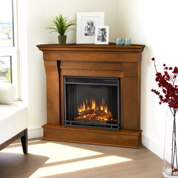Shop Chateau Espresso Finish Electric Corner Fireplace By Real Flame