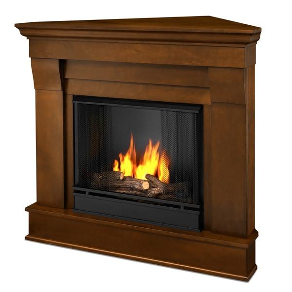 Real Flame Chateau Espresso Finish 40.94 in. L x 25.28 in. W x 37.6 in. H Gel Corner Fireplace