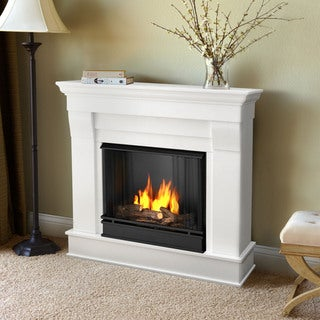 Real Flame Chateau White 40.94 in. L x 11.81 in. D x 37.6 in. H Gel Fuel Fireplace