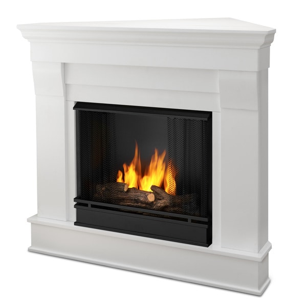 shop chateau gel fuel corner fireplace white by real flame free rh overstock com real flame gel fuel corner fireplace