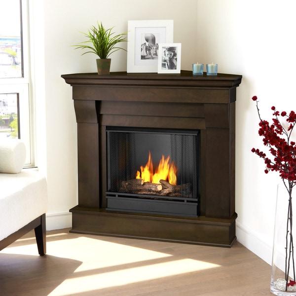 Real Flame Chateau Dark Walnut Finish 40.94 in. L x 25.28 in. W x 37.6 in. H Corner Gel Fireplace