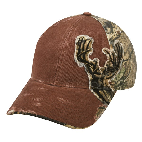 Deer Frayed Camo Patch Adjustable Hat