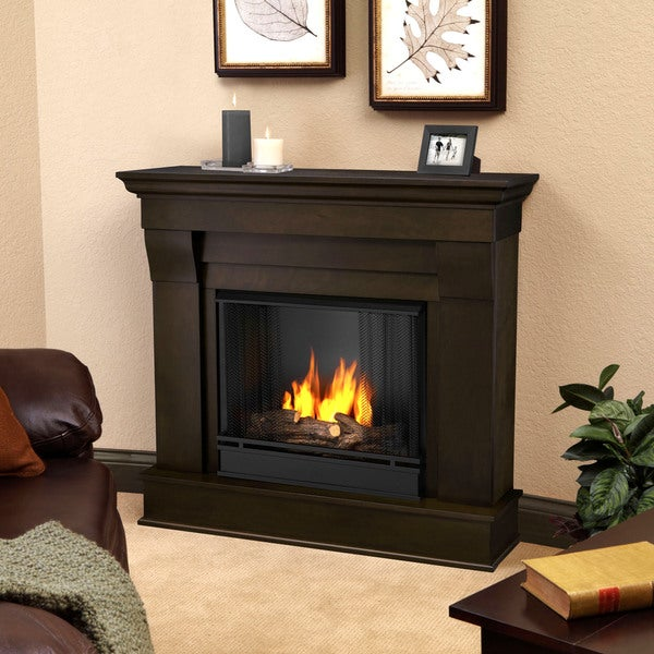 Real Flame Chateau Dark Walnut Gel Indoor Fireplace