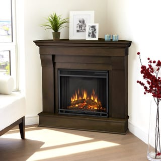 Real Flame Chateau Dark Walnut Finish 40.94 in. L x 25.28 in. W x 37.6 in. H Corner Electric Fireplace