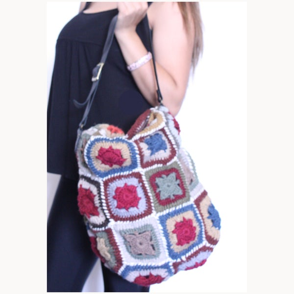 Colorful Hand Crochet Bag with Leather Strap (Nepal)