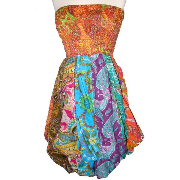 Women's Multi-colored Cotton Elastic Tube Top Sleeveless Bubble-hem Dress (Nepal)
