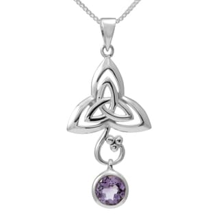 Sterling Silver Round Amethyst Celtic Knot w/18-inch Silver Chain (Thailand)