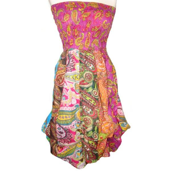 Women's Cotton Elastic Top Sleeveless Bubble-hem Dress (Nepal)