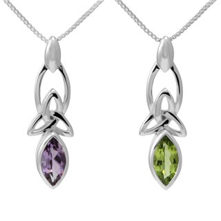 Handmade Sterling Silver Marquise Cut Gemstone Celtic Knot w/ 18-inch Chain (Thailand)