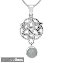 Handmade Sterling Silver Round/Pear Cut Natural Peridot Stone Celtic w/ 18-inch Chain (Thailand)