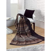 IBENA Messina Chocolate Stria Oversized Throw
