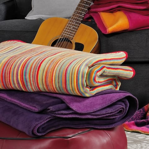 IBENA Vibrant Sunset Stripe Oversized Jacquard Woven Throw