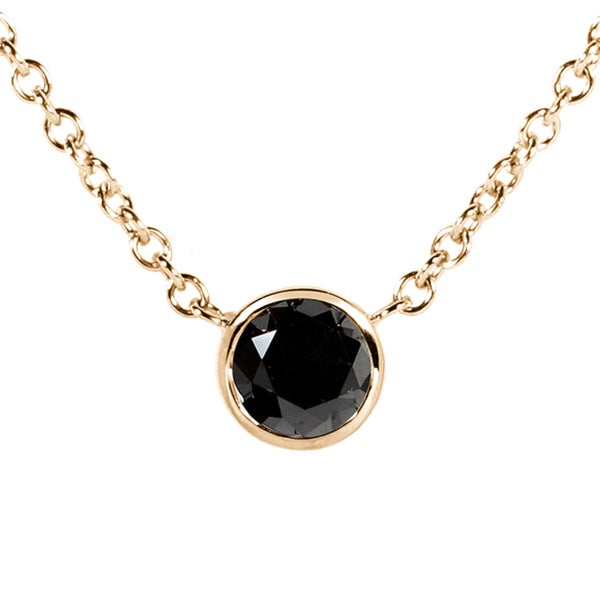 Annello by Kobelli 14k Yellow, White, or Rose Gold 1/4ct TDW Black Diamond Solitaire Bezel Necklace