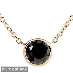 Annello by Kobelli 14k Yellow, White, or Rose Gold 1ct TDW Black Diamond Solitaire Bezel Necklace