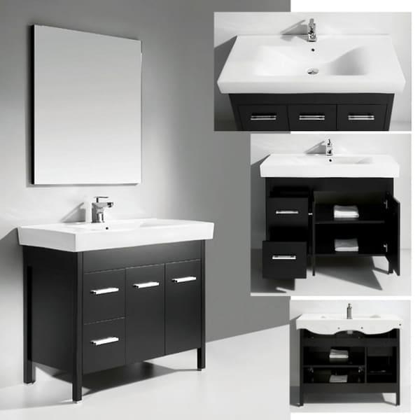 Ceramic Basin Top Single Sink Bathroom Vanity with Mirror