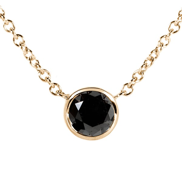 Annello by Kobelli 14k Yellow, White, or Rose Gold 1/2ct Black Diamond Solitaire Bezel Necklace