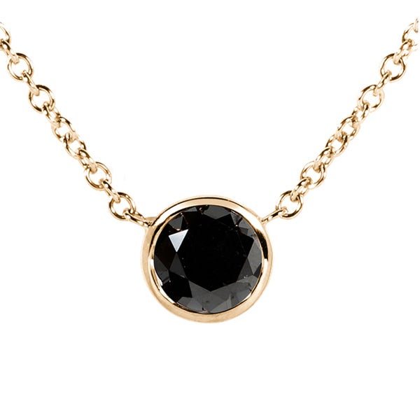 Annello 14k Yellow, White, or Rose Gold 3/4ct TDW Black Diamond Solitaire Bezel Necklace