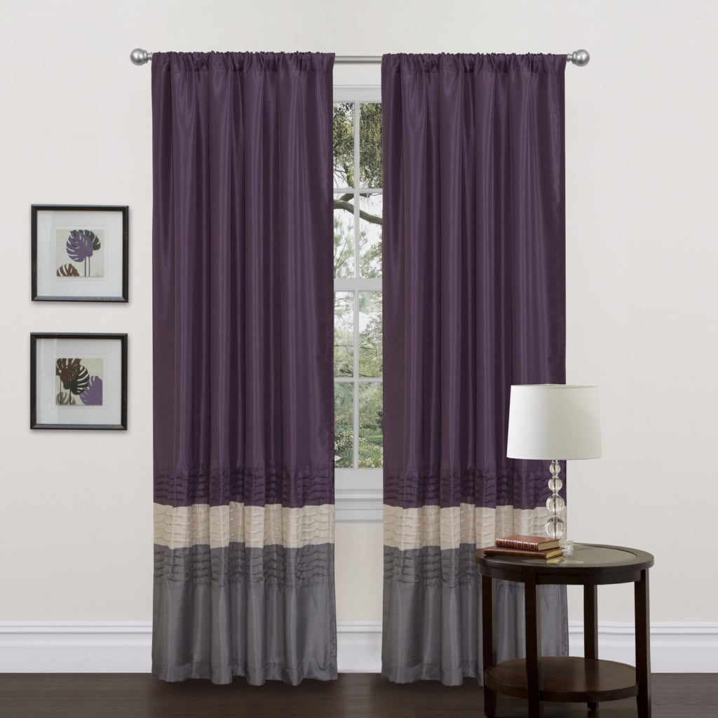 Shop Mia Grey Purple 84 Inch Curtain Panel Pair Free