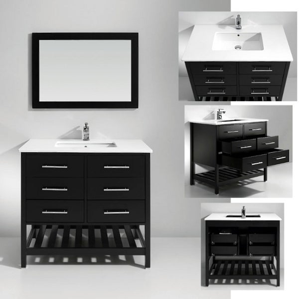 Artifical Stone Top Single Sink Bathroom Vanity with Matching Mirror