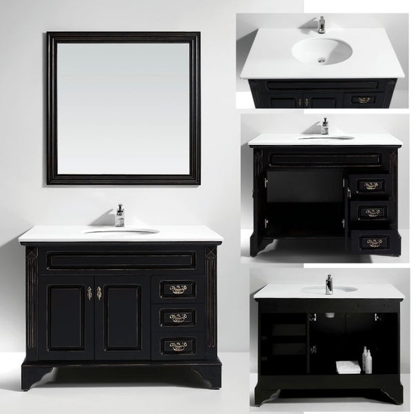 Artificial Stone Top Single Sink Bathroom Vanity with Matching Mirror