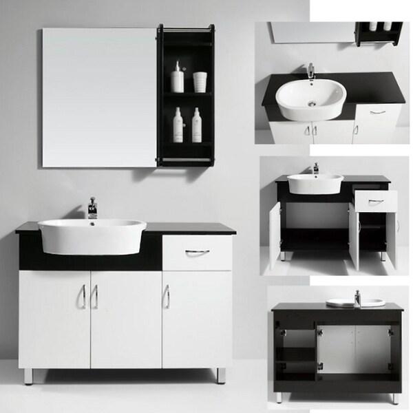 Solid Wood Top Single Sink Bathroom Vanity with Matching Mirror/ Shelf