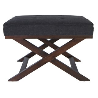 Traditional Cross Legs Charcoal Bench Ottoman
