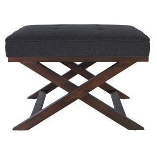 Traditional Cross Legs Charcoal Bench Ottoman
