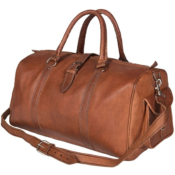 ec0a11df02fe Shop Handmade Leather Duffle Bag (Morocco) - Free Shipping Today ...