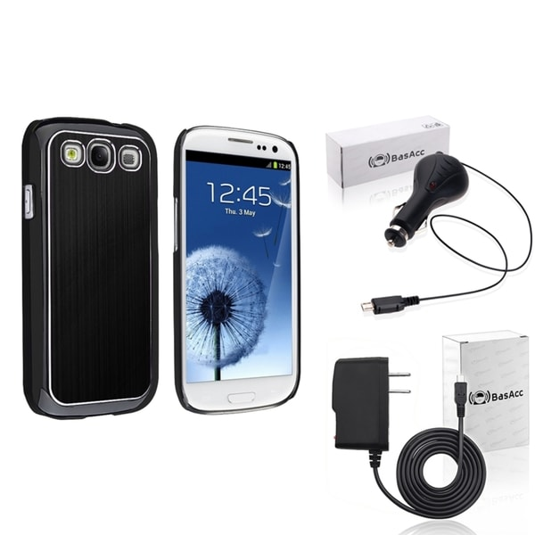 INSTEN Black Case Cover/ Travel/ Car Charger for Samsung Galaxy SIII/ S3