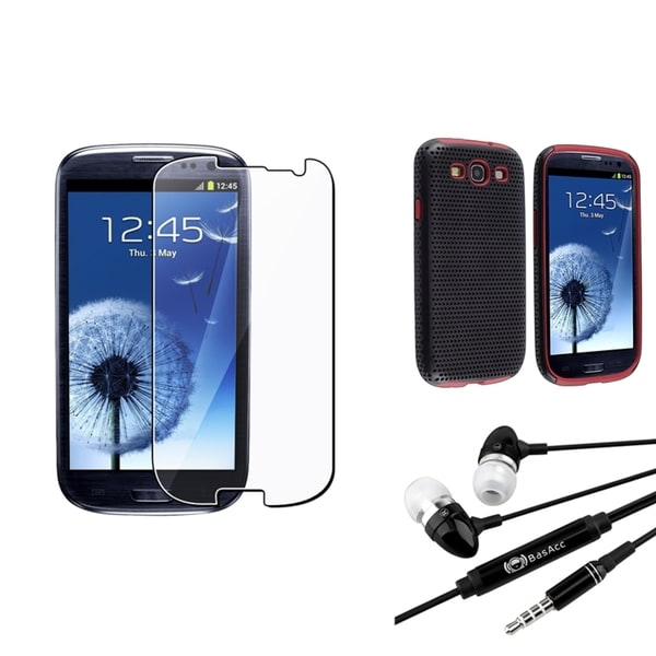 BasAcc Red-and-Black Case/Screen Protector/Headset for Samsung Galaxy SIII/S3