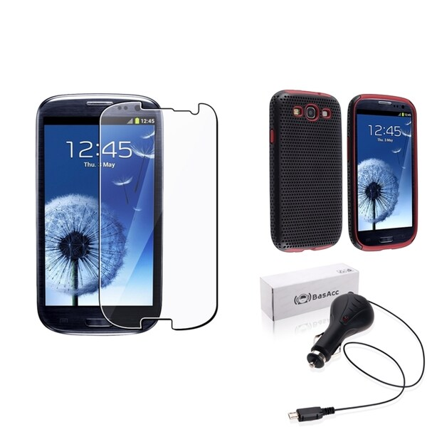 BasAcc Hybrid Case/Screen Protector/Charger for Samsung© Galaxy SIII/S3