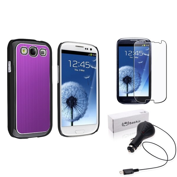 Purple BasAcc Case/Screen Protector/Charger for Samsung© Galaxy SIII/S3