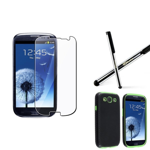Green-and-Black BasAcc Case/Screen Protector/Stylus for Samsung Galaxy S3 i9300