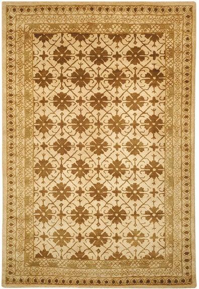 Safavieh Handmade Classic Agra Beige/ Dark Brown Wool Rug (6' x 9')