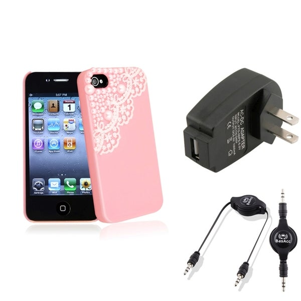 BasAcc Pink Case/ Black Charger/ Cable for Apple® iPhone 4/ 4S