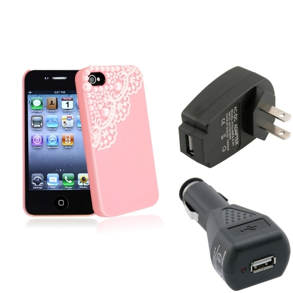 BasAcc Pink Case/ Black Travel/ Car Charger for Apple® iPhone 4/ 4S