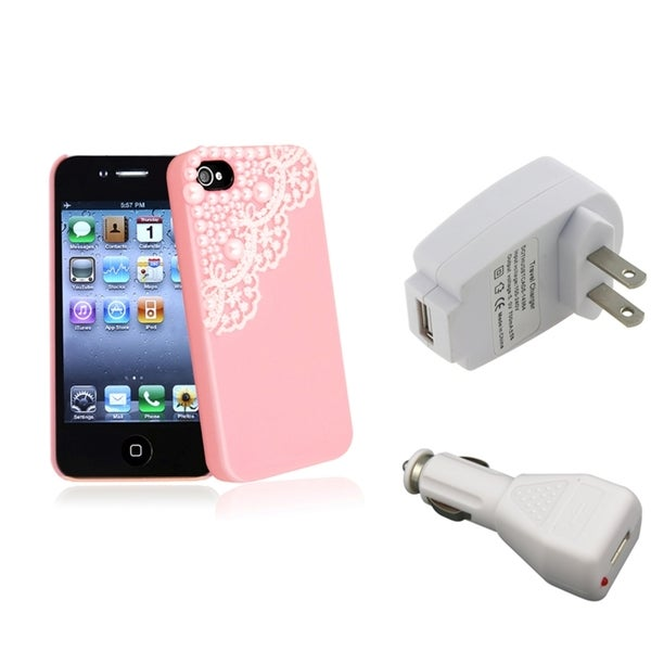 INSTEN Pink Phone Case Cover/ White Travel/ Car Charger for Apple iPhone 4/ 4S