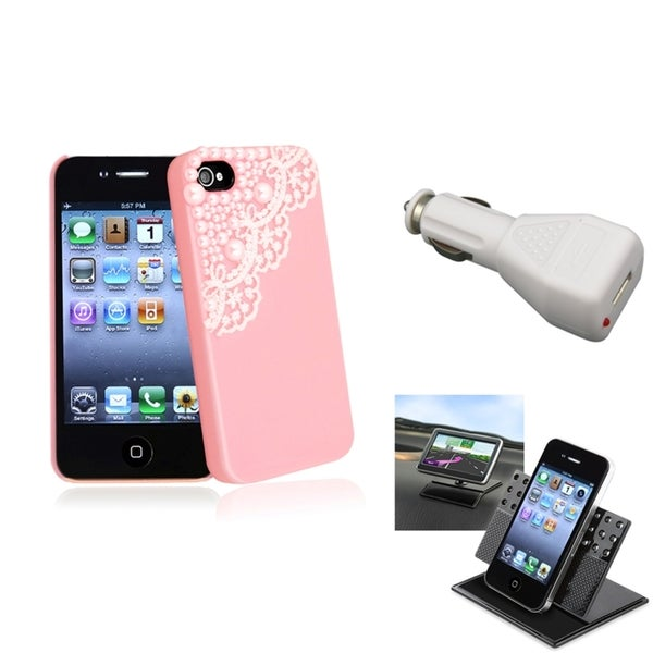 INSTEN Pink Phone Case Cover/ White Car Charger/ Holder for Apple iPhone 4/ 4S