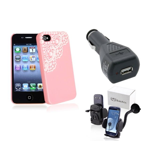 BasAcc Pink Case/ Black Car Charger/ Mount for Apple® iPhone 4/ 4S