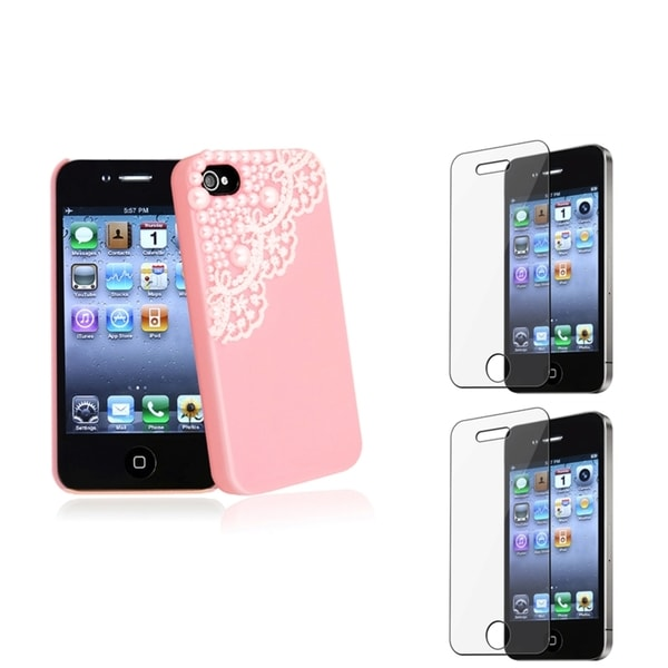 INSTEN Pink Phone Case Cover/ Screen Protector for Apple iPhone 4/ 4S