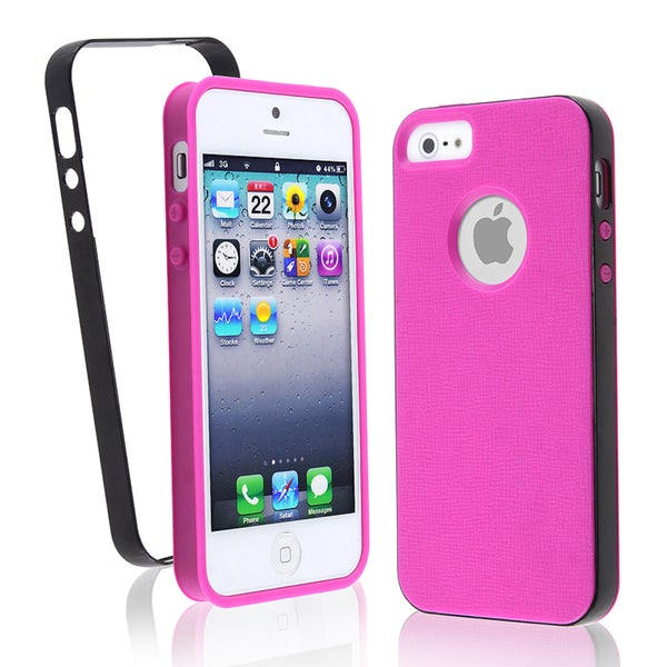 BasAcc Hot Pink with Black Bumper TPU Case for Apple iPhone 5