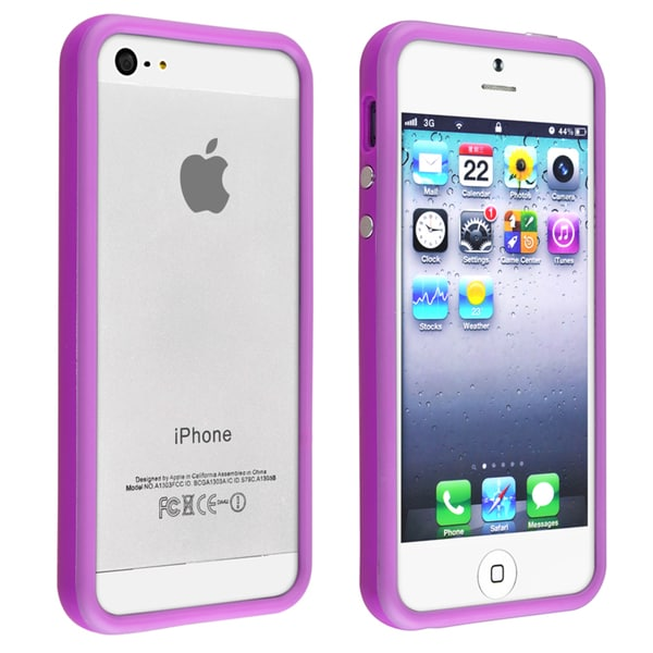 BasAcc Purple TPU Bumper Case with Aluminum Button for Apple iPhone 5
