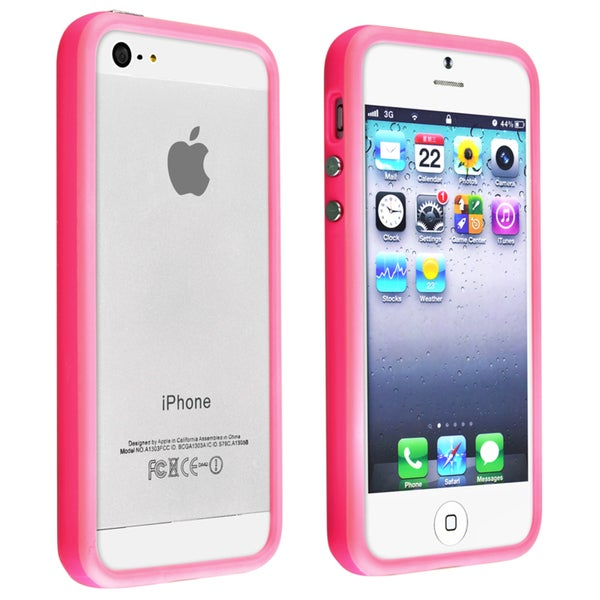 INSTEN Pink TPU Bumper Phone Case Cover with Aluminum Button for Apple iPhone 5/ 5S