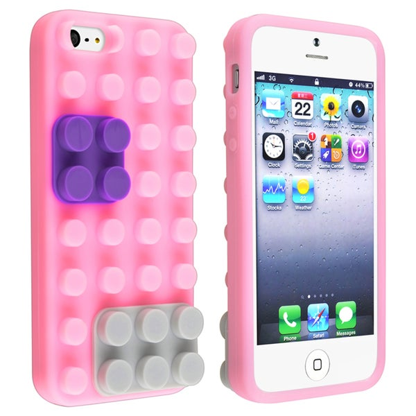 BasAcc Light Pink/ Purple/ Gray Toy Bricks Case for Apple iPhone 5