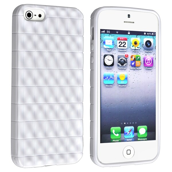 BasAcc White 3D Wave TPU Rubber Case for Apple Phone 5