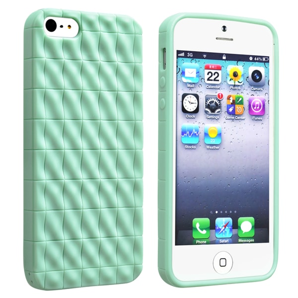 INSTEN Mint Green 3D Wave TPU Rubber Phone Case Cover for Apple Phone 5/ 5S