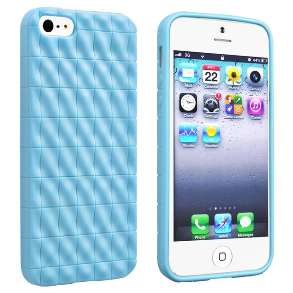 BasAcc Light Blue 3D Wave TPU Rubber Case for Apple Phone 5