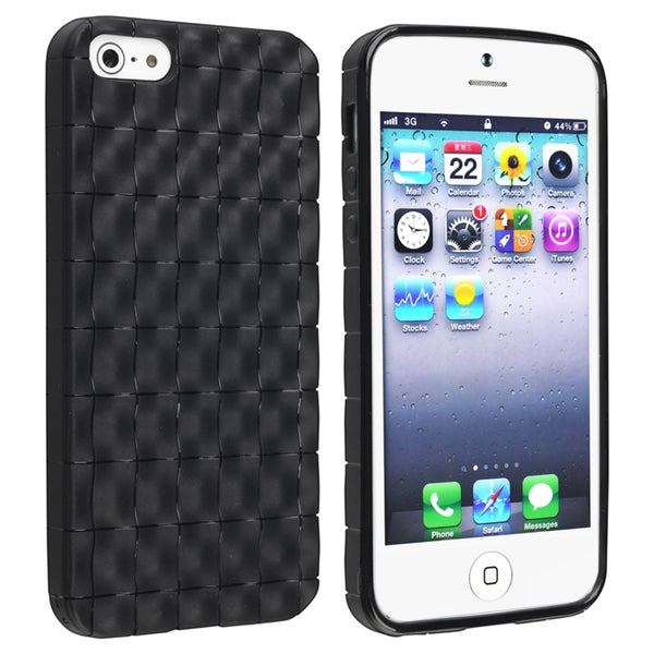 BasAcc Black 3D Wave TPU Rubber Case for Apple Phone 5