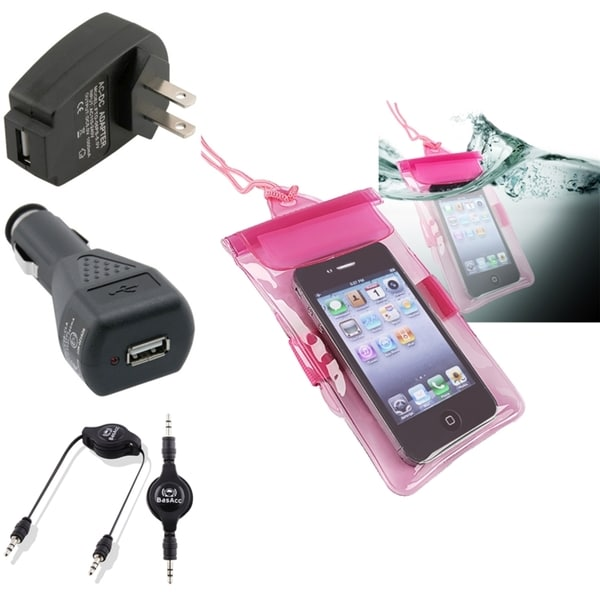 BasAcc Pink Waterproof Bag/ Chargers/ Cable for Apple iPhone/ iPod